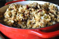 Dad's Holiday Stuffing: https://vedgedout.com/2012/11/19/vedged-out-thanksgiving-menu/