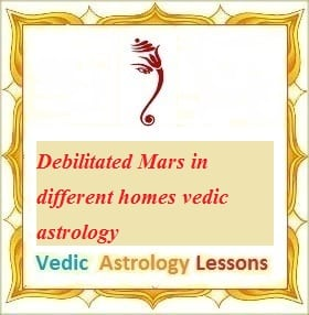 Debilitated Mars in different homes vedic astrology