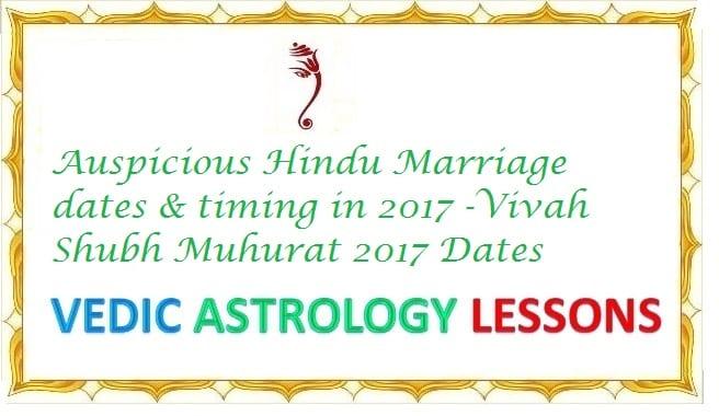 Auspicious Hindu Marriage dates 2017