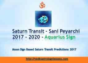 Satunr Transit 2017 - 2020 for Aquarius Sign - Sani Peyarchi Plalangal 2017 for Kumbha Rasi