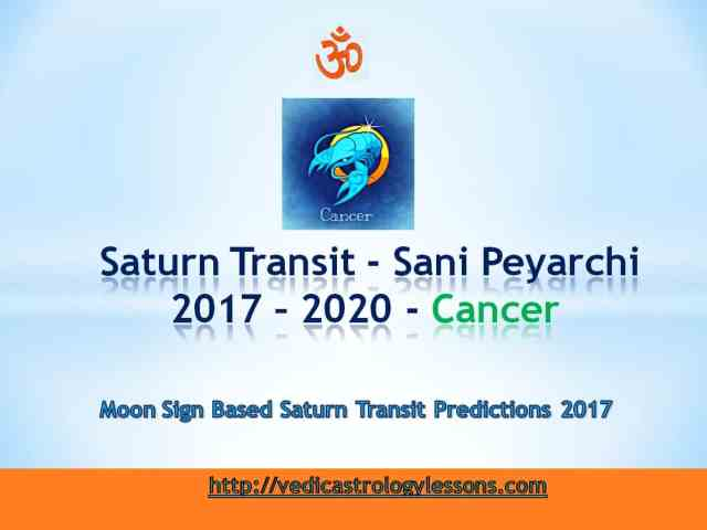 Satunr Transit 2017 - 2020 for Cancer Sign - Sani Peyarchi Plalangal 2017 for Kataka Rasi