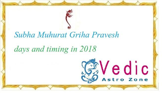 Subha Muhurat Griha Pravesh dates and timing in 2018 - Vedic