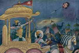 Arjuna Kills Jaydhratha with Pashupatastra
