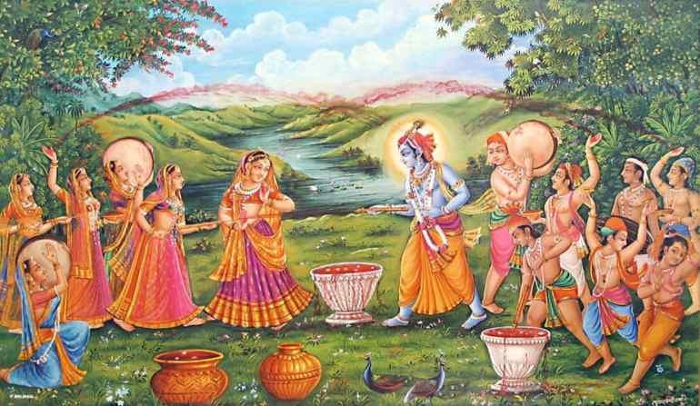 Krishna and Radha Playing Holi