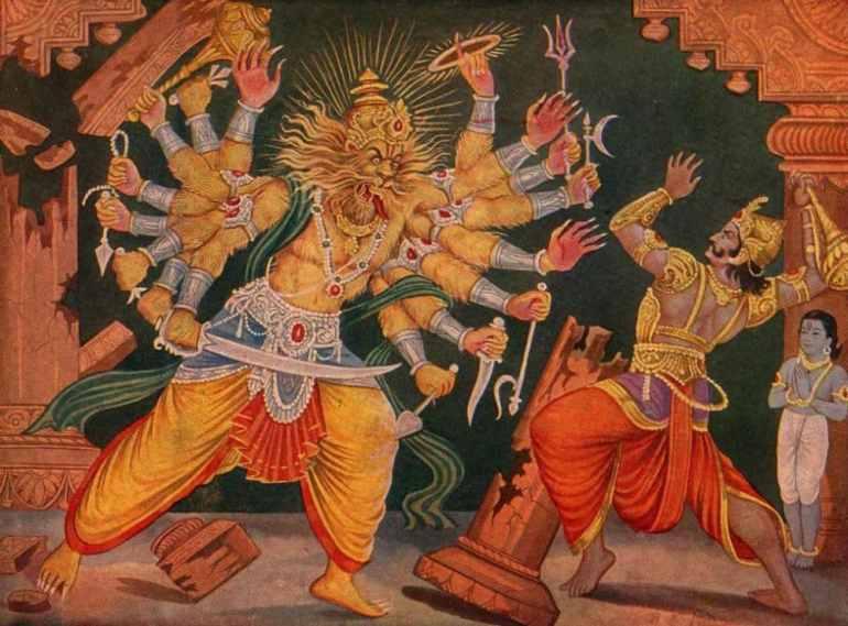Hiranyakashipu wielding a mace against Narasimha