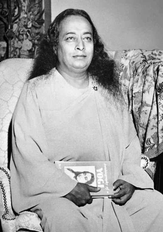 Yogananda with his Autobiography, 1950