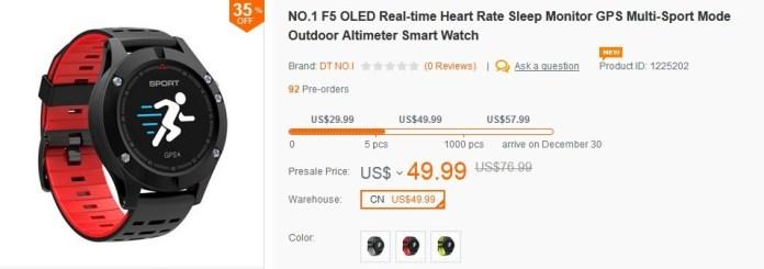 No.1 F5 Smartwatch Banggood