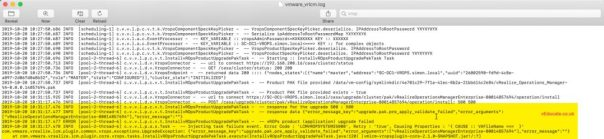 vRSLCM Product update LCMVROPSYSTEM25008 LCM vmware vrlcm.log
