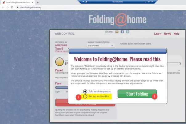 Foldingathome setup an identity