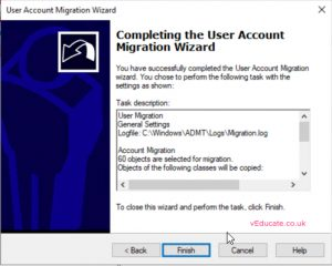 MIgrate users between a forests 12 Complete user account migration wizard