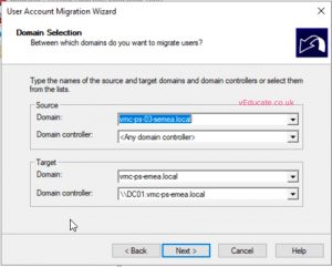 MIgrate users between a forests 2 enter source and target domain