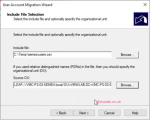 MIgrate users between a forests 4 set include file location and source OU