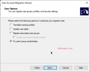 MIgrate users between a forests 9 user options