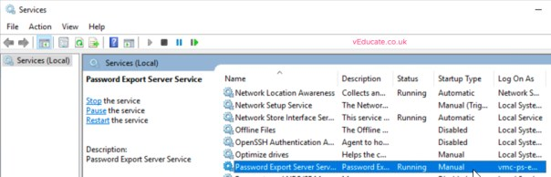 MIgrate users between a forests Install Password Migration Service start services