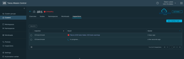 Tanzu Mission Control Openshift Cluster Inspections Running Inspection