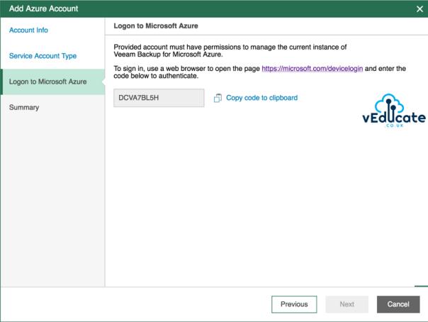 Veeam Azure Getting started Add Microsoft Azure Account Wizard Logon to Microsoft Azure
