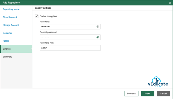 Veeam Azure Getting started Add Repository accounts Specify Settings enable encryption