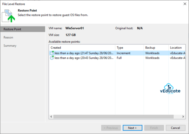 Veeam Backup for Azure Integration with Veeam Backup and Replication File Level Recovery Restore guest files Select Restore point