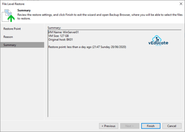 Veeam Backup for Azure Integration with Veeam Backup and Replication File Level Recovery Restore guest files Summary