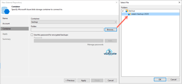 Veeam Backup for Azure Integration with Veeam Backup and Replication New external repository Select Container and Folder