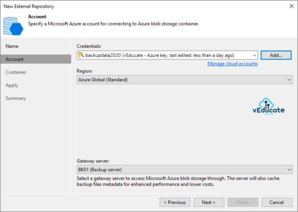 Veeam Backup for Azure Integration with Veeam Backup and Replication New external repository Specify a Microsoft Azure Account 2
