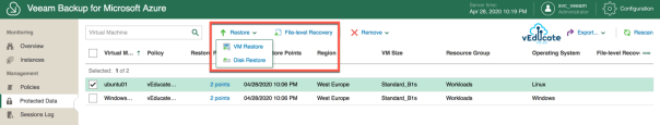 Veeam Backup for Azure Protected Data Viewing available restore points Restore Options