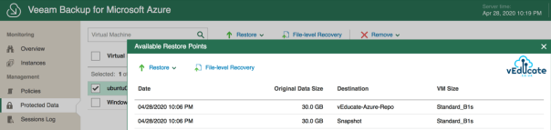 Veeam Backup for Azure Protected Data Viewing available restore points