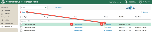 Veeam Backup for Azure Restore File Level Recovery Session Log 1