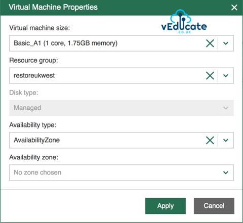 Veeam Backup for Azure Restore VM Restore Restore Virtual Machines Restore Mode Specify settings for the instance Virtual Machine Properties