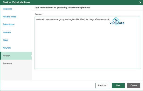 Veeam Backup for Azure Restore VM Restore Restore Virtual Machines Specify Reason