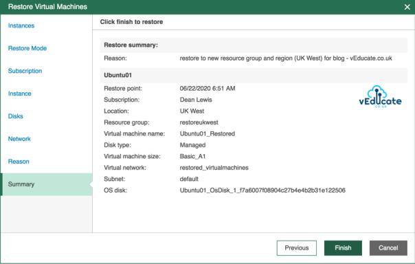 Veeam Backup for Azure Restore VM Restore Restore Virtual Machines Summary Click finish to restore