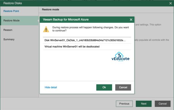 Veeam Backup for Azure Restore Virtual Machine Hard Disk Restore Mode Original Location