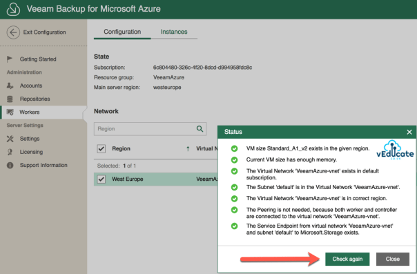 Veeam Backup for Azure Worker Service Endpoint Microsoft.Storage Fixed
