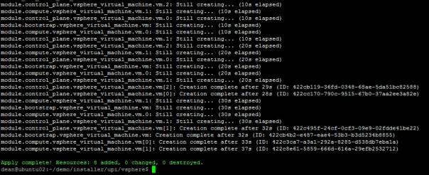 Deploy OpenShift VMware Static IP Terraform apply result output