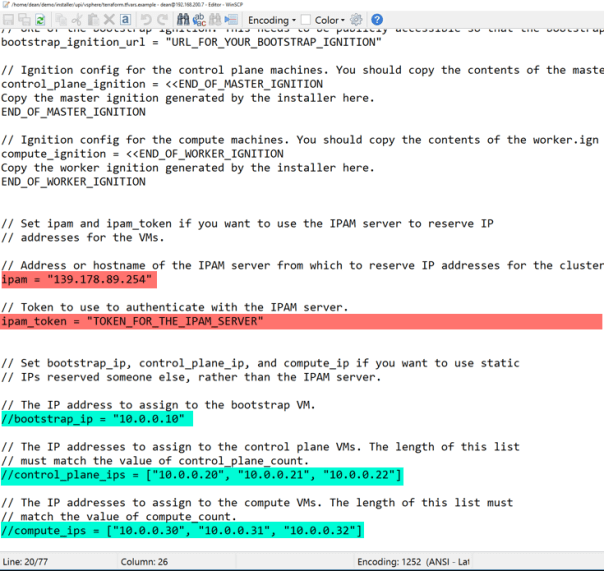 Deploy OpenShift VMware Static IP configure terraform.tfvars file