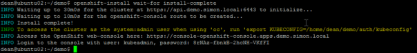 Deploy OpenShift VMware Static IP openshift install wait for install complete console login