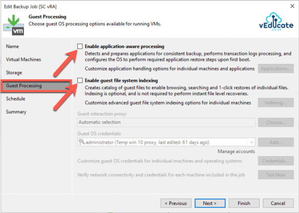 Veeam vRealize Automation Backup Create Backup Job Guest Processing