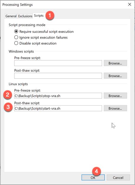 Veeam vRA Backup Offline backup job settings application aware processing options configure script locations