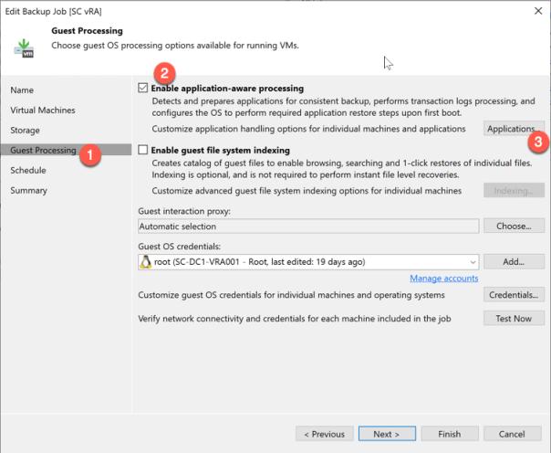 Veeam vRA Backup Offline backup job settings application aware processing