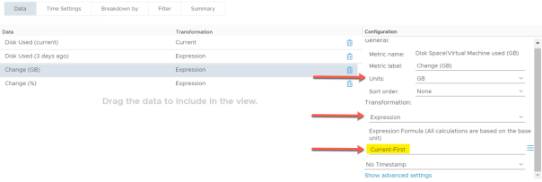 VM Growth List Create view Disk Used 3 Days ago Transformation expression Current First