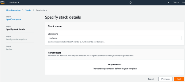 TMC Data Protection AWS Console CloudFormation Create a Stack Specify stack details