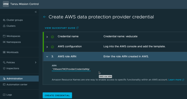 TMC Data Protection Enter the role ARN created in AWS