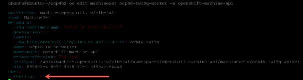 oc edit machineset replicas