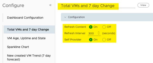Create Dashboard Edit view Configuration provide name refresh content self provider