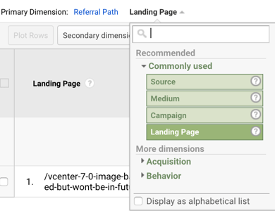 Google Analytics - primary dimension - landing page
