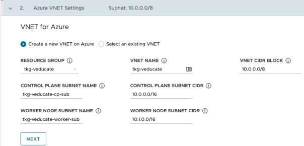 Deploy Management cluster to Azure - Azure VNET Setting