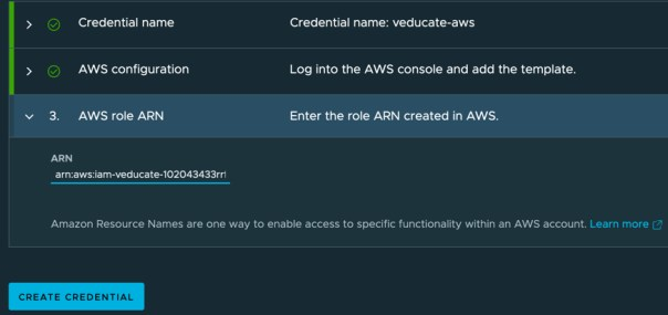 TMC - Create AWS cluster lifecycle management provider credential - AWS role ARN