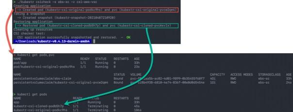 kubestr csicheck -s storageclass -v volumestorageclass - output