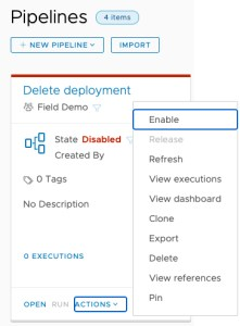 vRA Deploy Tanzu Guest Cluster - Code Stream - Enable Pipeline - Delete Deployment