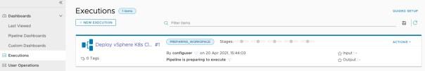 vRA Deploy Tanzu Guest Cluster - Code Stream - Pipeline - Deploy Tanzu Cluster - Run - View Execution